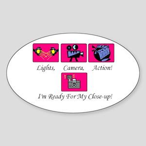 Lights,Camera,Action! Oval Sticker