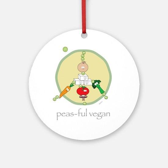 Peas-ful Vegan Ornament (Round)