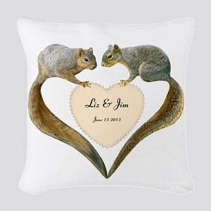 Love Squirrels Doily Woven Throw Pillow