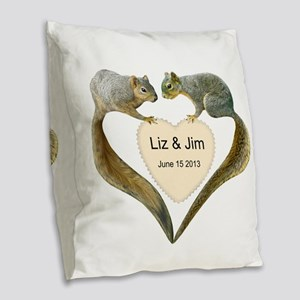 Love Squirrels Doily Burlap Throw Pillow