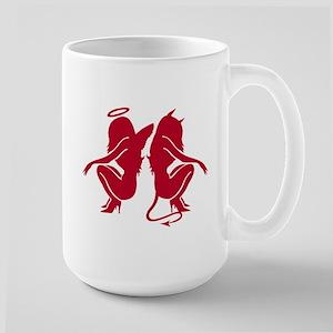 red angel/devil silhouette Large Mug