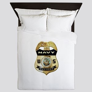 U S Navy Customs Badge Queen Duvet