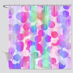 Bubbles #3, Pink Shower Curtain