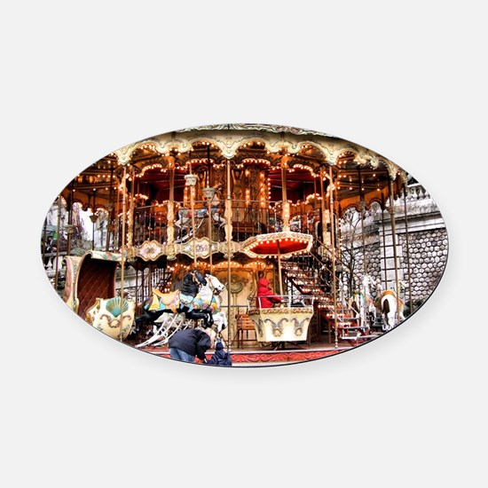 Carousel in Montmartre Oval Car Magnet