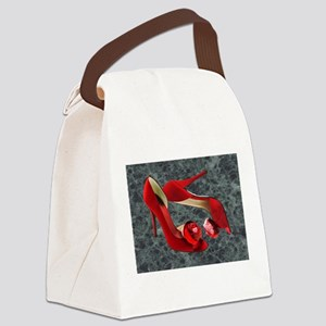 Rock Me Red Pom Poms Canvas Lunch Bag