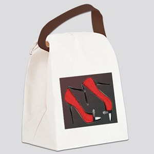 Raging Red Open Toed Stilettos Canvas Lunch Bag