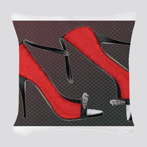 Raging Red Open Toed Stilettos Woven Throw Pillow
