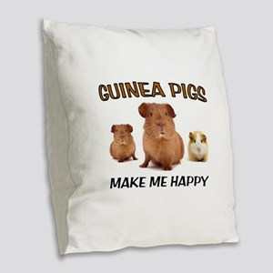 HAPPY PIGS Burlap Throw Pillow