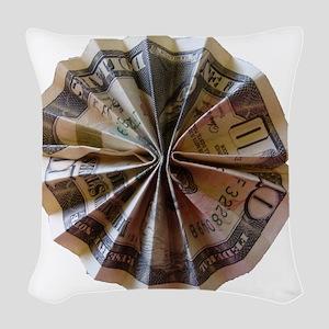Money Origami Rosette Woven Throw Pillow