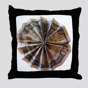 Money Origami Rosette Throw Pillow