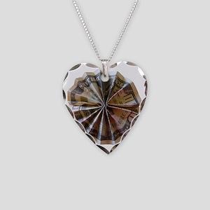 Money Origami Rosette Necklace Heart Charm