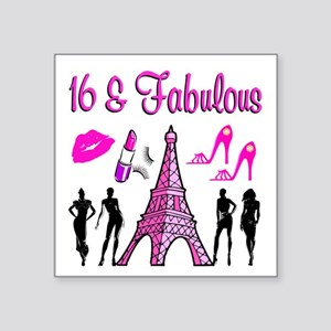 "GLAMOROUS 16TH Square Sticker 3"" x 3"""