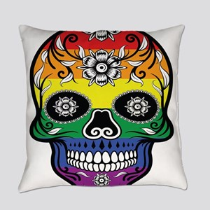 Gay Pride - Rainbow Catrina Skull Everyday Pillow