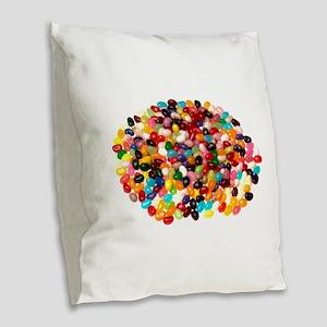 Jellybeans Burlap Throw Pillow