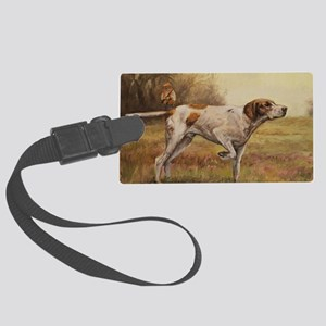 English Pointer with Hunter Large Luggage Tag