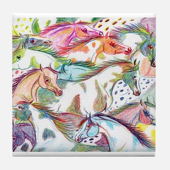 Wild Horse Herd Tile Coaster