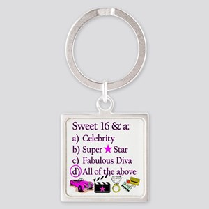 SWEET 16 DIVA Square Keychain