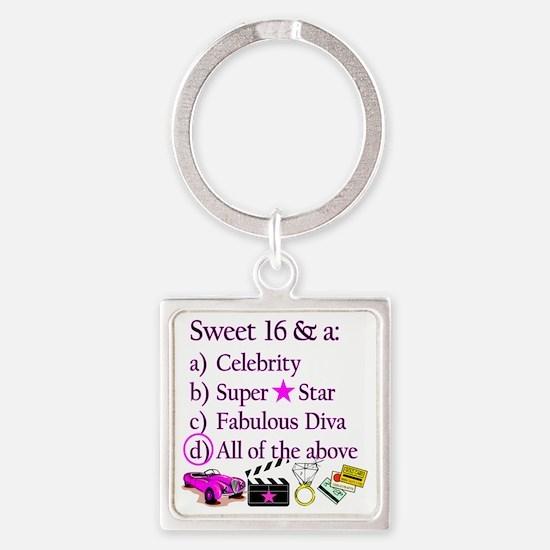 SWEET 16 DIVA Square Keychain