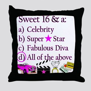 SWEET 16 DIVA Throw Pillow