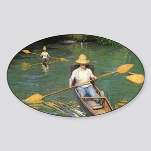 Oarsmen by Caillebotte Sticker (Oval)