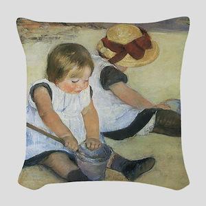 Mary Cassatt Children Playing  Woven Throw Pillow