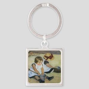 Mary Cassatt Children Playing on t Square Keychain