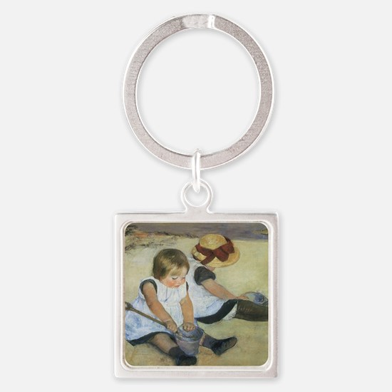 Mary Cassatt Children Playing on t Square Keychain