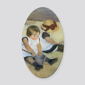 Mary Cassatt Children Playing on t Oval Car Magnet