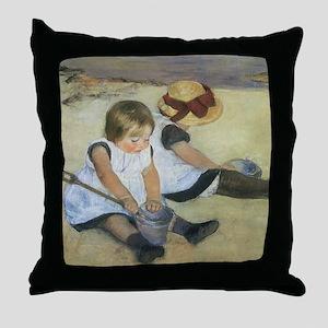 Mary Cassatt Children Playing on the  Throw Pillow