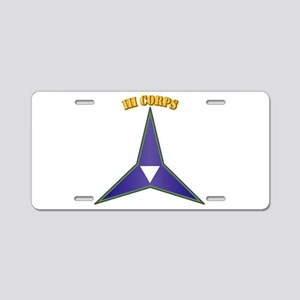 SSI - III Corps with Text Aluminum License Plate