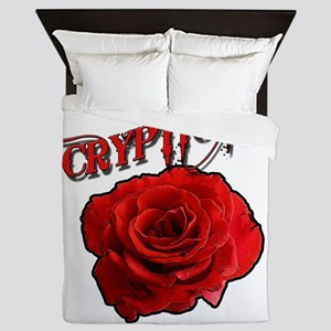 Cryptic Ink Red Rose Queen Duvet