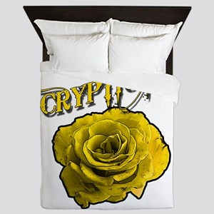 Cryptic Ink Yellow Rose Queen Duvet