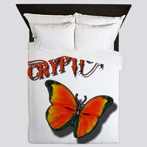 Cryptic Ink Orange Butterfly Queen Duvet