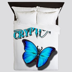 Cryptic Ink Blue Butterfly Queen Duvet