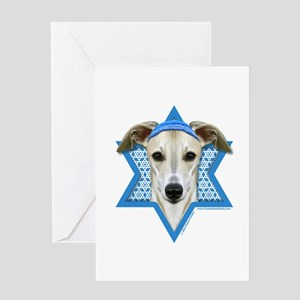 Hanukkah Star of David - Whippet Greeting Card