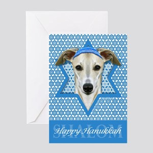Hanukkah Star of David - Whippet Greeting Card
