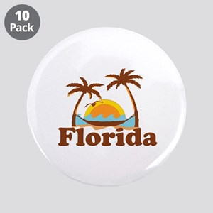 "Florida - Palm Trees Design. 3.5"" Button (10 pack)"
