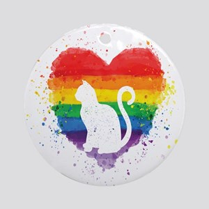 Gay Pride - LGBT Cat Purride Round Ornament