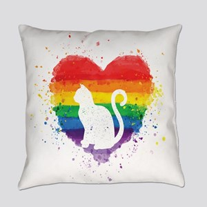 Gay Pride - LGBT Cat Purride Everyday Pillow