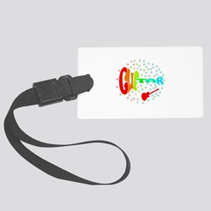 guitar word red red stars Luggage Tag