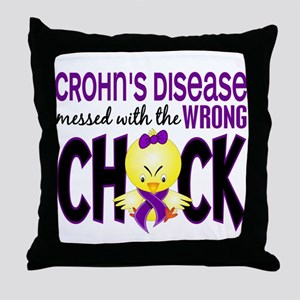 Crohn's Messed With Wrong Chick Throw Pillow