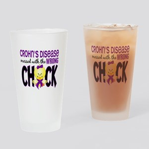 Crohn's Messed With Wrong Chick Drinking Glass