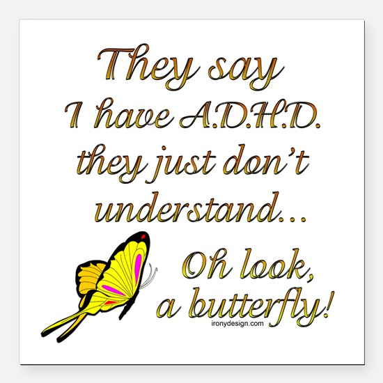 """ADHD Butterfly Square Car Magnet 3"""" x 3"""""""