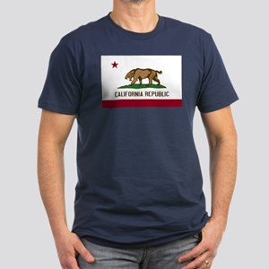 Smilodon California Flag Men's Fitted T-Shirt (dar