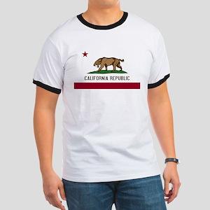 Smilodon California Flag Ringer T
