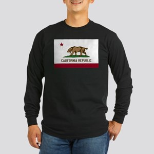Smilodon California Flag Long Sleeve Dark T-Shirt