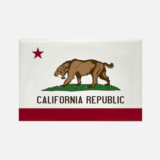 Smilodon California Flag Rectangle Magnet (100 pac