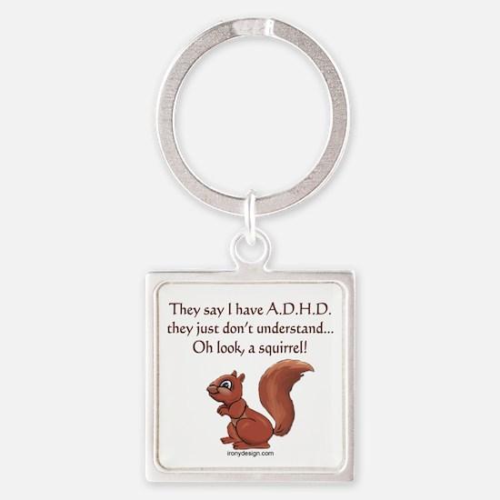 ADHD Squirrel Square Keychain