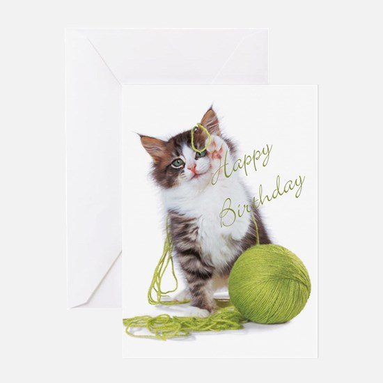 kitty with yarn Greeting Cards