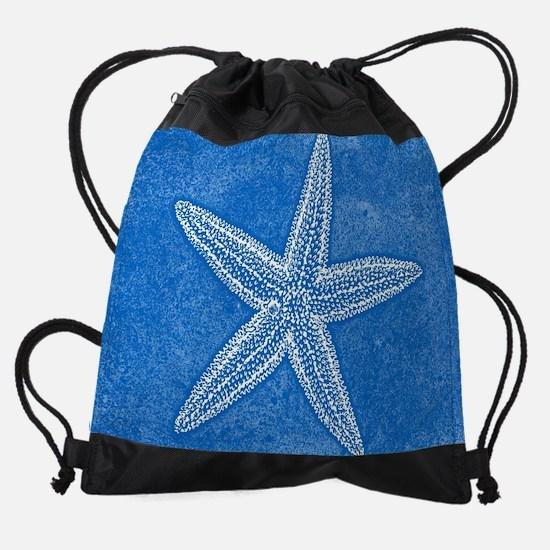Blue Starfish Drawstring Bag